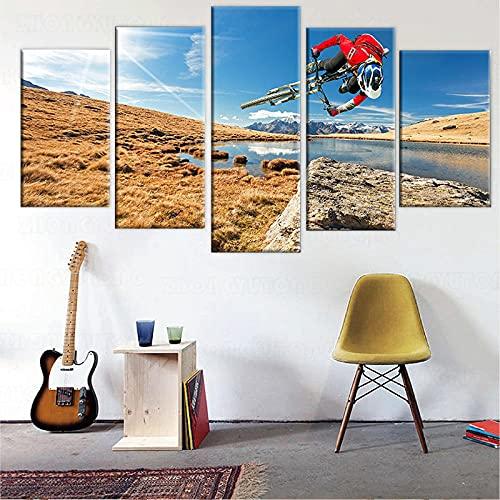 yuanjun 5 Parts Modern Stretched And Framed Wallpaper Modular Hd Prints Poster 150X80Cm Mural Home Decor Canvas Prints Artwork Mountain Bike Sunshine Landscape