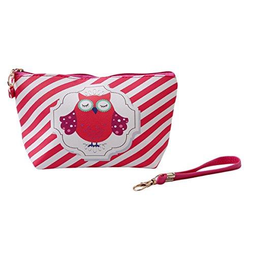 ODN Eule Schminkbeutel Kosmetik-Tasche Owl Täschchen Federmappe Geschenk Beutel Mädchen,Rosa rot