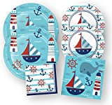 Nautical Party Supplies Anchor Baby Shower, Paper Plates and Napkins, 48 Pieces