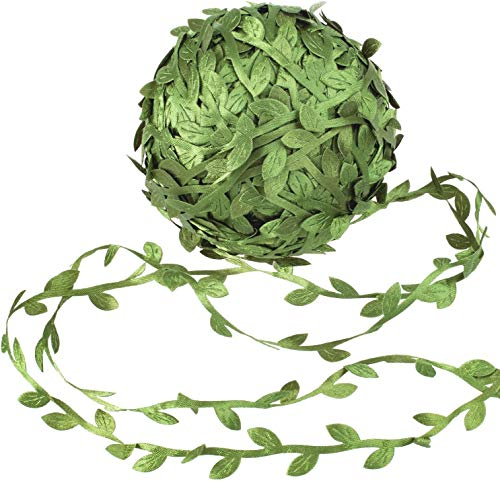 Adwikoso Artificial Vines Fake Hanging Green Leaves Artificial Craft Sewing DIY Leaf Ribbon Garland Wedding Party Cloth Decoration 132 Ft/40m