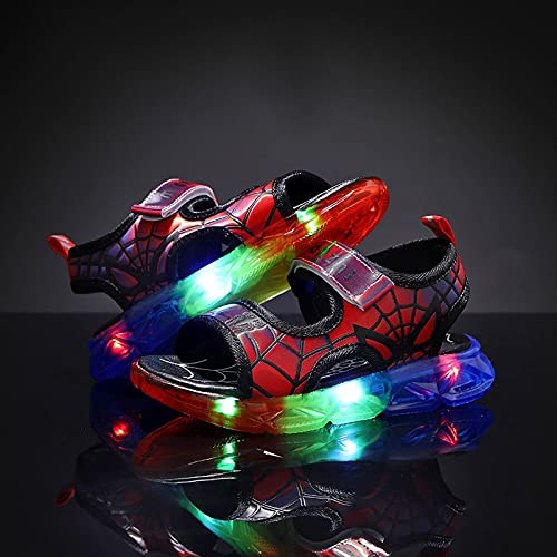 Kinder-Sandalen, Sportschuhe, Strand, atmungsaktiv, LED-Blitz, leicht, leuchtende Beleuchtung, Sneaker-Sandalen (Größe: 31, Farbe: rot)