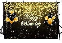 Wbw7x5ftゴールデンブラックバルーンお誕生日おめでとう背景ゴールドグリッタースパンコール大人の男性女性写真背景装飾バナーポートレート写真ブース小道具用品
