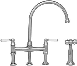 Whitehaus WHQNBP-34663-C Queenhaus Bridge Faucet with A Long Gooseneck Spout, Porcelain Lever Handles and Solid Brass Side Spray