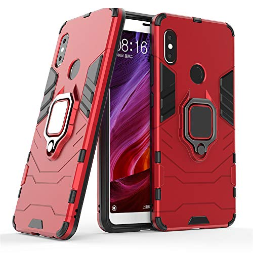 DESCHE für Xiaomi Redmi Note 5/Pro hülle, Ringhalterung hülle + Bildschirmschutz, kompatibel mit magnetischer Autohalterung - Rote