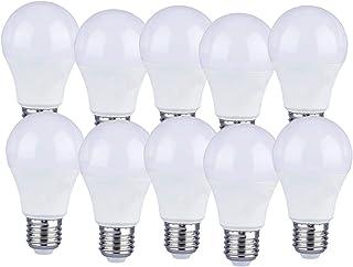 LEDLUX - 10 bombillas LED E27 A60, 9 W, forma esférica, 806 lúmenes, Ø 60 x 110 mm, disponible en blanco cálido, neutro y ...