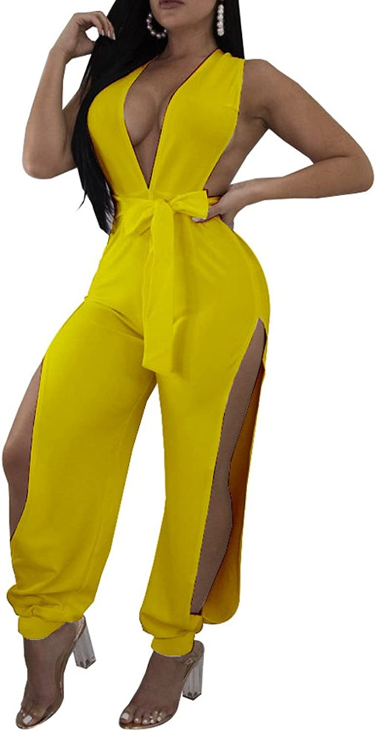Kafiloe Womens Sexy Sleeveless Plunge V Neck Belted Party Jumpsuit Long Pants Rompers Clubwear with Slit