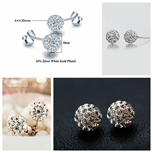 925 Silver Sterling Opal Studs Earrings for Womens CZ Ball Pearl Style Artificial Jewellery