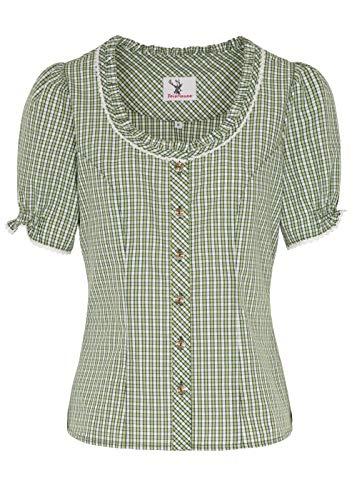 Spieth & Wensky dames klederdrachtblouse groen-wit geruit Neumühl blouse met korte mouwen