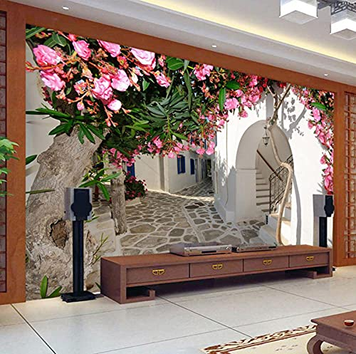 Fototapete Mediterrane Straße Stadt Stadt Landschaft 3D-Wandbild Wandtuch Wohnzimmer TV-Thema Hotel Hintergrund Wandverkleidungen-200 * 140cm