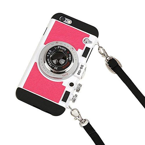 Funda para iPhone 7 Plus, iPhone 7 Plus, diseño único 3D de cámara, carcasa de policarbonato híbrida de silicona a prueba de golpes, incluye cuerda larga
