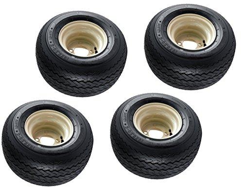 18x8.50-8 OEM Golf Cart Wheels and Golf Cart Tires Combo - Set of 4 (18x8.5-8, Beige)