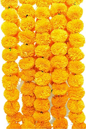 VAISHNO BALAJI 5 Pack Artificial Yellow Flower Garlands 5 ft Long for Home Decoration, Diwali Christmas Party for Parties, Indian Weddings, Indian Theme Decorations