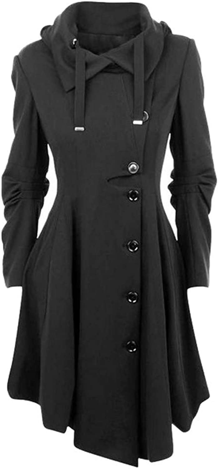 Beebeauty Womens Modern Button Closure Asymmetrical Winter Long Personality Collar Trench Jackets Coat