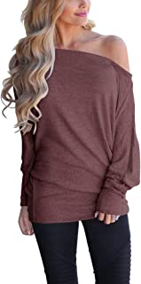 INFITTY Women's Off Shoulder Loose Pullover Sweater Batwing Sleeve Knit Jumper Oversized Tunics Top
