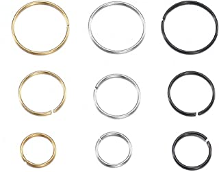 TinyStudio 1 PC Stainless Steel Open Nose Ring Hoop 6mm/10mm Lip Studs Small Thin Piercing Jewelry Silver Gold Black