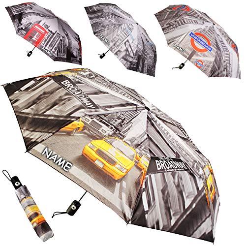 alles-meine.de GmbH Taschenschirm - AUTOMATIK -  New York - London Motiv-Mix  - incl. Name - ø 100 cm - großer Regenschirm / Kinderschirm / Erwachsenenschirm - für Jungen / Män..