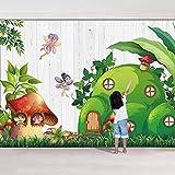 SUNNYBZ Papel Pintado De Pared 3D Seta Duende Hojas Dibujos Animados 250X175 Cm Empapelado Pegatina Mural Autoadhesivo Decorativos Extraíble Impermeable Para Hogar Cocina Salón Moderna Tv Decor