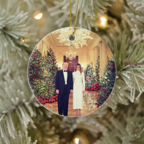 onepicebest Christmas Ornaments 2020 Trump Us President White House Christmas Ceramic Ornament Round Shape, Decorating Hanging Ornaments Christmas Party Decor Xmas Gift