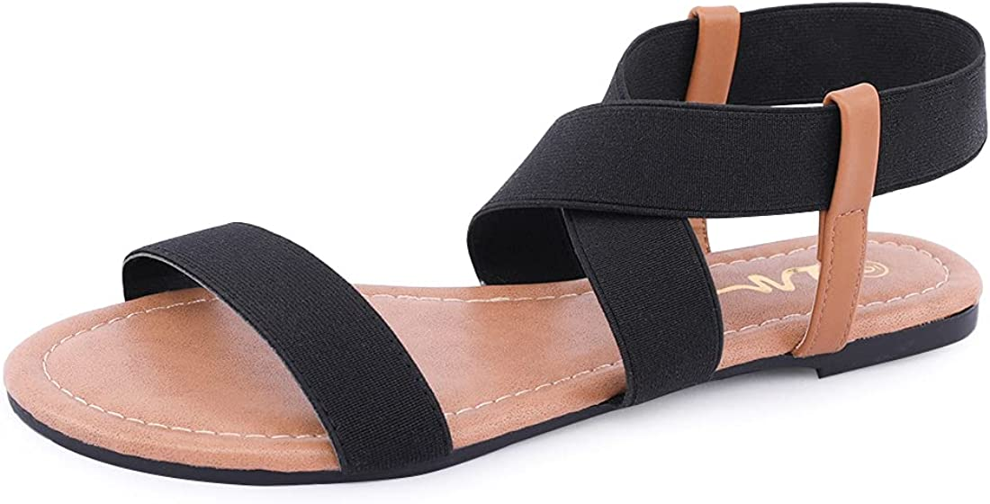 Women's Elastic Finally popular brand Flat Sandals Open Ankle Toe Gladia National products Strap