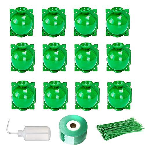 Fuuner Caja de cultivo de raíces para plantas, herramientas de injerto de bola de enraizamiento,kit de propagación de capas de aire,maceta propagadora/dispositivo asistido para flores,verde 12piezas