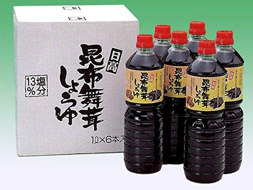 日高昆布舞茸しょうゆ 詰め合わせ(箱入)1リットル×6本入り 日高昆布 醤油