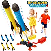 Betheaces Duel Rocket Launcher Toy for Kids - Shoot Up to 100 Feet Outdoor Air Rocket Toys Gift for Boys, Girls, Kids Included 6 Foam Rockets