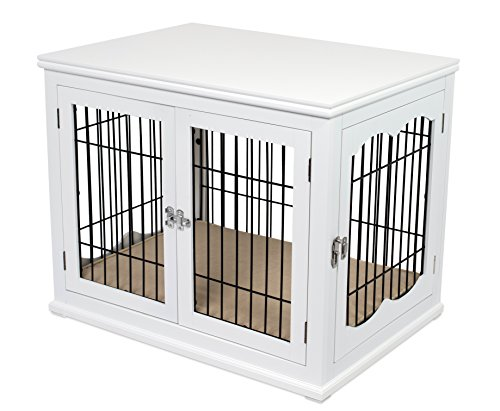Internet's Best Decorative Dog Kennel with Pet Bed - Small Dog - Double Door - Wooden Wire Dog House - Indoor Pet Crate Side Table - White