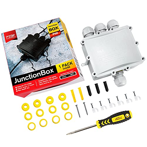 Outdoor Junction Box Waterproof Electrical Boxes with Cover IP68 Plastic 4-Way Cable Connectors with Terminal External Sleeve Coupler for 0.16inch-0.55inch Diameter Wire,Grey