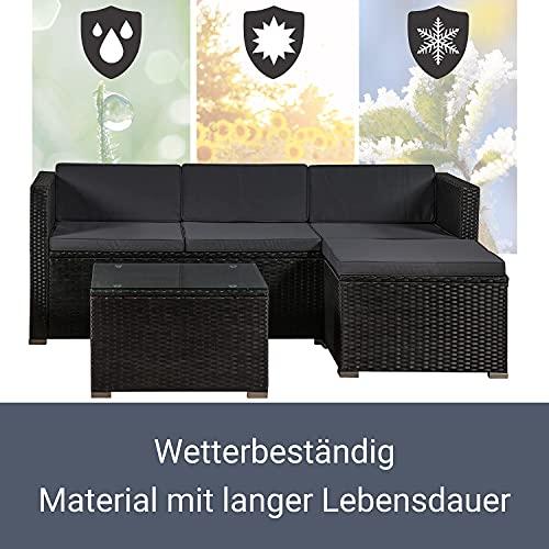 ArtLife Polyrattan Lounge Punta Cana M schwarz – Gartenlounge Set für 3-4 Personen – Gartenmöbel-Set mit Sofa, Tisch und Hocker – Sitzbezüge in Dunkelgrau - 5