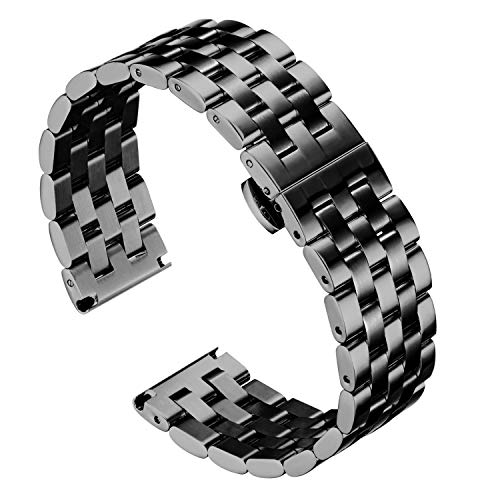 BINLUN Stainless Steel Watch Bands with Straight and Curved End - Metal Replacement Watch Straps in Gold, Rose Gold, Black, Silver, Silver-Gold, Silver-Rose, Silver-Black 18mm 19mm 20mm 21mm 22mm 24mm