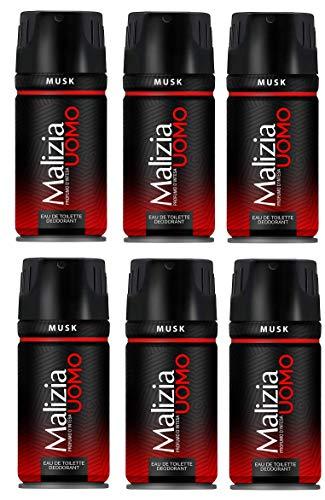 6x MALIZIA UOMO Musk mann deo 150ml deospray deo spray deodorant Edt parfum