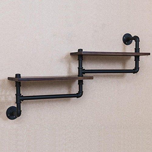 Alte Eisenindustrie Wasserrohr Regale Badezimmer Holz Wand-Handtuchhalter Regal Lagerregal schwarz