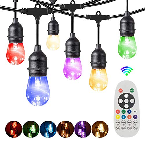 Outdoor String Lights Mains Powered, Bomcosy S14 RGBW Colorful Festoon Lights, Warm White & Color Changing, 100FT LED Outside Lights Waterproof Dimmable for Backyard Patio Cafe Garden Party