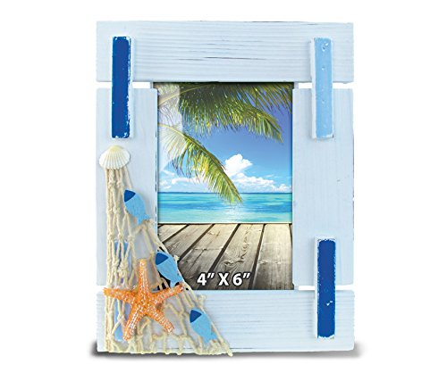 CoTa Global Light Blue Stripes 4' x 6' Photo Frame Nautical Handcrafted Wooden Picture Holder w/ Easel Back Starfish Seashell Fishnet Novelty Frame Bright & Unique for Beach, Aquatic & Ocean Theme