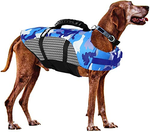 FR&RF Chaleco salvavidas ajustable para perro, chaleco salvavidas de seguridad para perro con mango de rescate para natación, surf, navegación, caza, azul, XL