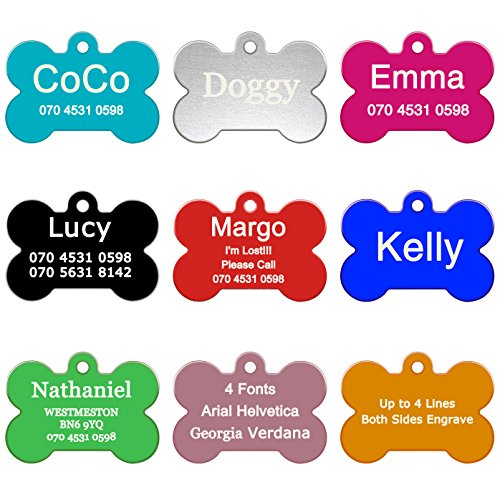 ABIsedrin Pet ID Tag Hunde/Katzen, Gravierte Hundemarke Haustiere, Personalized Pet Tag 9 Shapes & 9 Farben zur Auswahl-Knochen