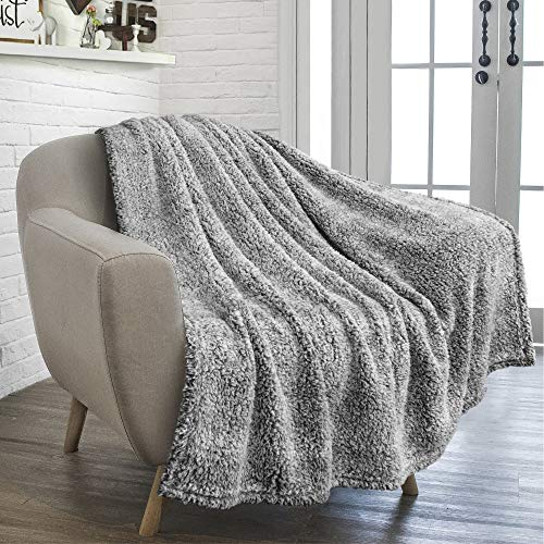 PAVILIA Plush Sherpa Throw Blanket for Couch Sofa | Fluffy Microfiber Fleece Throw | Soft, Fuzzy, Cozy, Shaggy, Lightweight | Solid Heather Grey Blanket | 50 x 60 Inches