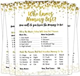 30 Who Knows Mommy Best Baby Shower Game - Gold Baby Shower Games to Play for Girls, Boys, Coed Shower, Party and Baby Sprinkle - Baby Guessing Game Idea for Women, Men, Mommy, Daddy, Adults & Kids