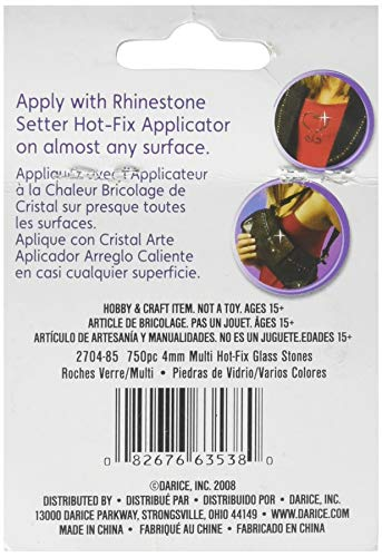 Rhinestone Setter Hot-Fix Embellishments 4mm 750/Pkg-Multi Glass Stone