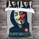 Kinhevao Anonymous Renaissance V para Vendetta Believe Bitcoin Juego de Cama de 3 Piezas Funda nórdica, Juego de Cama Decorativo de 3 Piezas con 2 Fundas de Almohada C12165