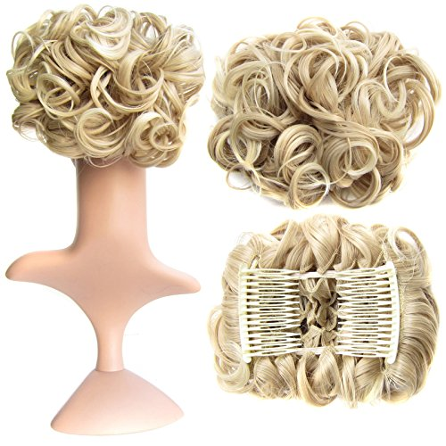 SWACC Short Messy Curly Dish Hair Bun Extension Easy Stretch hair Combs Clip in Ponytail Extension Scrunchie Chignon...