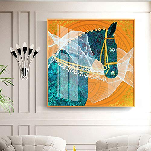 N / A Rahmenlose Malerei HD Pferd Wandkunst Leinwand mit blauen Augen und weißen Gaze Malerei Poster Wohnzimmer Home DecorationZGQ7534 50X50cm