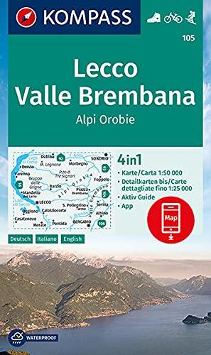 KOMPASS Wanderkarte Lecco, Valle Brembana, Alpi Orobie 1:50 000: 4in1 Wanderkarte 1:50000 mit Aktiv Guide und Detailkarten inklusive Karte zur offline ... KOMPASS-App. Fahrradfahren. Skitouren.: 105