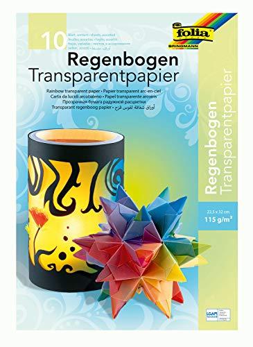 folia 785 - Mappe mit Regenbogentransparentpapier, farbig sortiert, 10 Blatt, 115 g/qm, ca. 22,5 x 32 cm, ideal zum Gestalten von Windlichtern, Fensterbildern und anderen Bastelarbeiten