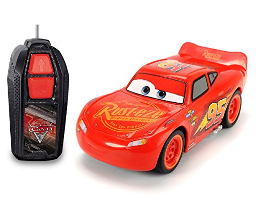 Dickie Toys RC Cars 3 Lightning McQueen Single Drive, Ferngesteuertes Auto, RC Auto, Spielzeugauto mit 1-Kanal Funkfernsteuerung, 14 cm