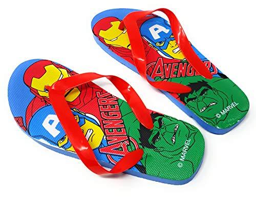 Les Avengers Tongs Enfant garçon Marvel Iron Man, Captain America et Hulk Bleu/Rouge du 24 au 34 (Numeric_32) (Numeric_32)