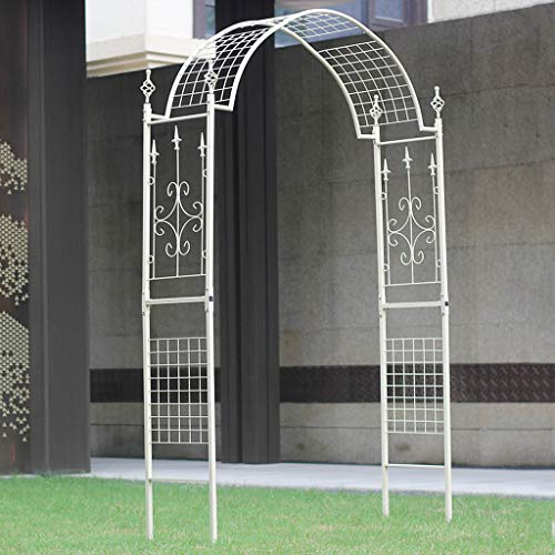 Rustic Outdoor Flower Garden Arch Trellis, Durable Metal Garden Arbor for Climbing Plants, Wedding Decoration, Iron Pergola, 140cmx40cmx225cm (White)