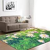 Alfombra,Teppich,Soft Velvet Carpet For Living Room Grass Flower Pattern Modern Design Anti-Slip Area Rug Kid's Bedroom Floor Pad Nursery Play Mat Porch Doorway Carpet Runner,50 * 80Cm