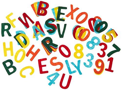Rayher Filz Stanzteile, 4cm Großbuchstaben und Zahlenmix, ca. 230 Stück bunt gemischt, Alphabet Buchstaben Zahlen aus Bastelfilz im Vorteilspack, zum kreativen Basteln mit Kindern