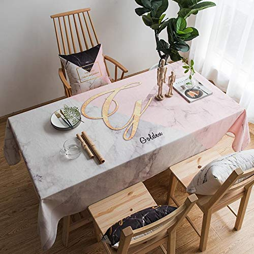 HTUO Home Kitchen Decoration Tablecloth Scandinavian Style Simple Printing Table Cover Pink Square Tablecloth Dining Table Rectangle Living Room Coffee Table Cover Cloth 140 * 180cm